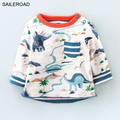 2017 New 18M  to 6 years  dinosaur shirts children kids boys girls long sleeve t shirts autumn spring baby clothes SAILERAOD