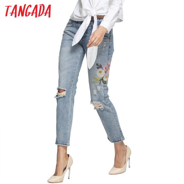 08-A Women Ripped Embroidery Jeans femme Plus Size Vintage Female 2017 Ladies Blue Denim Pants Pencil Casual Brand Fashion