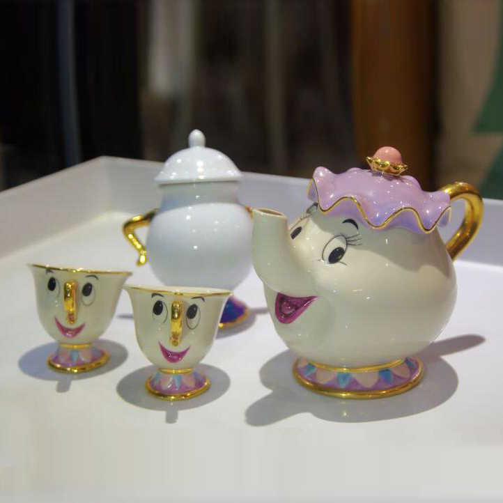 Kecantikan dan Binatang Tea Set Mrs Potts Chip Teko Piala Set Indah Porselen Kopi Kreatif Hadiah [1 Pot + 1 Cup + 1 Sugar Bowl]