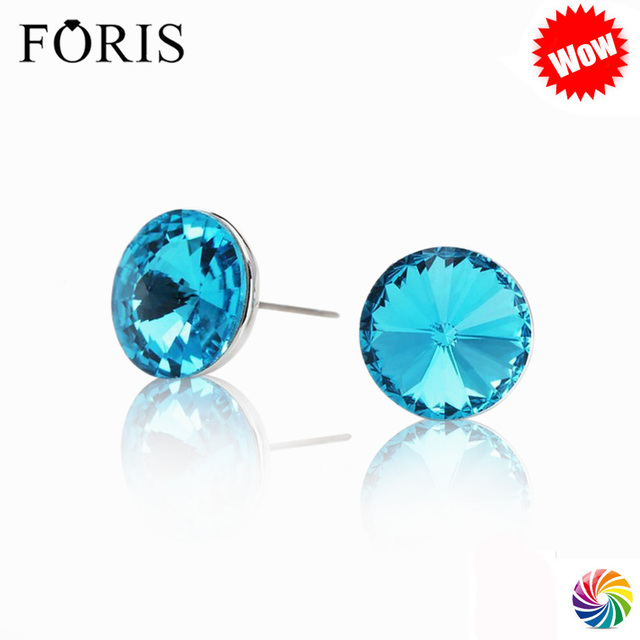 FORIS 6 Colors  Luxury Brand Jewelry Round Big Crystal Earrings Christmas Women Low Price PE017
