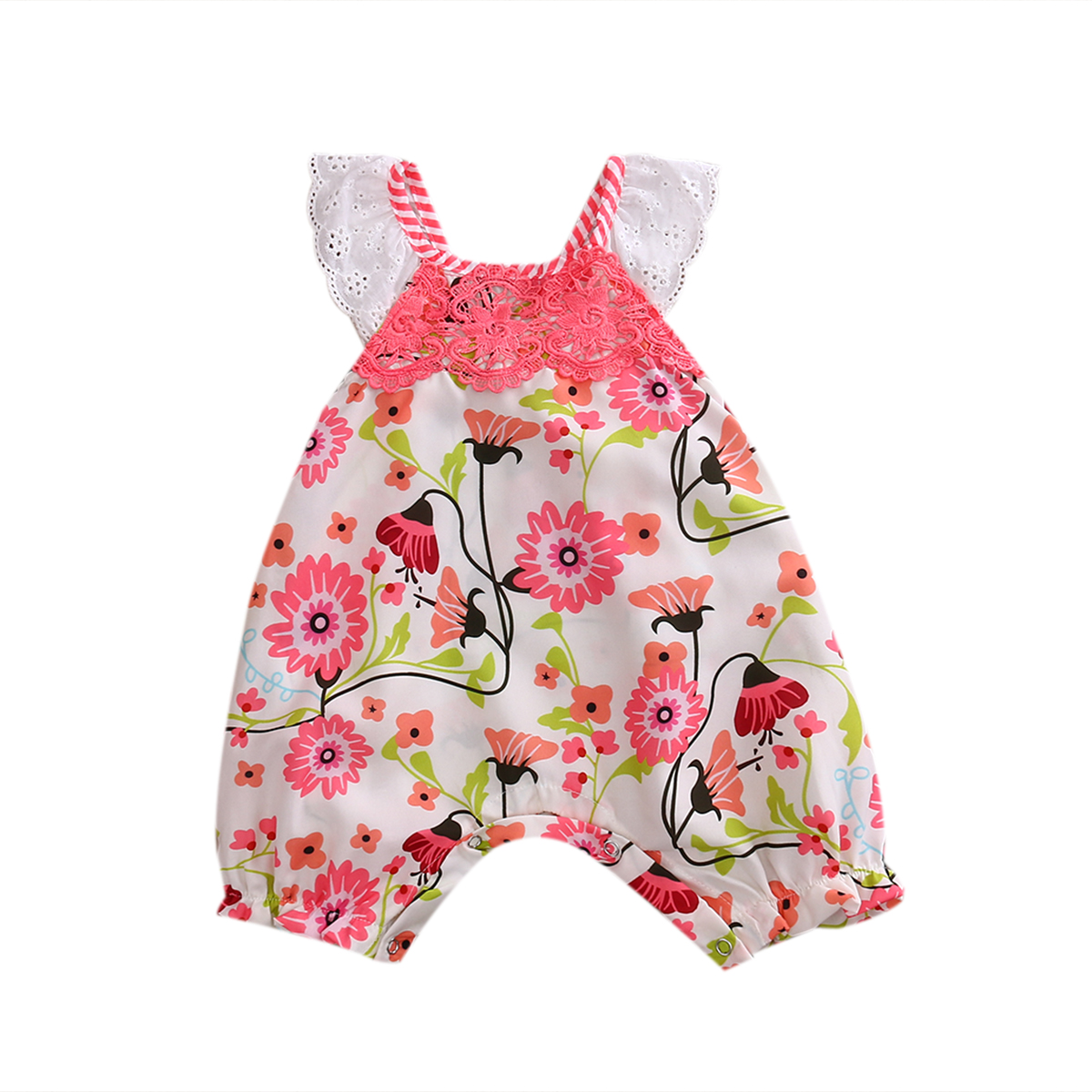Summer Flying Lace Sleeve Floral Romper Bow Backless Jumpsuit Toddler Clothes Outfit Sunsuit Set For Sweet Baby Girl Newborn