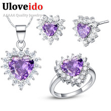 Fashion Wedding Jewelry Sets Simulated Diamond  Crystal Rhinestone Zircon Italina Heart Shipe White/Purple/Blue/Red/Pink  T477