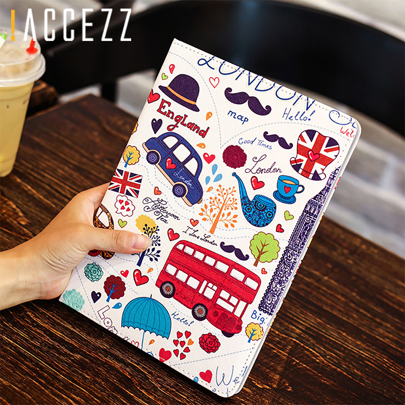 "4 2 3 !ACCEZZ Cartoon Flip Cover Tablet Sleeve For iPad Mini 1 2 3 4 7.9"" inches Holder Stand Smart Sleep Wake Up Full Protective Case (2)"