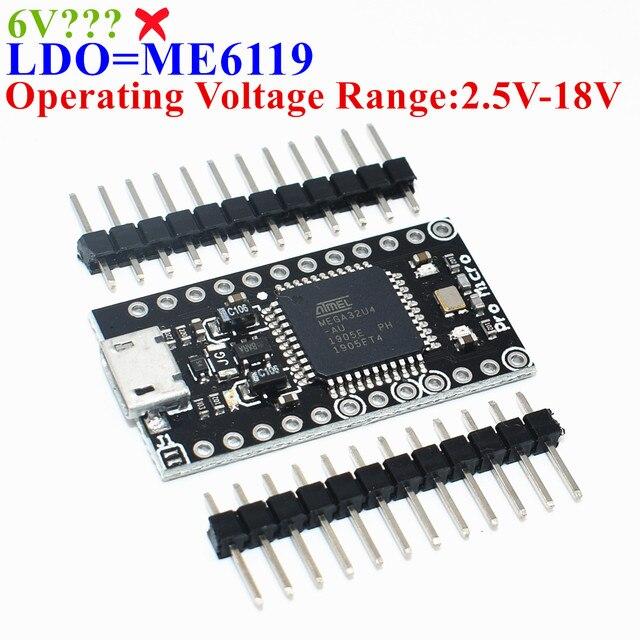 1 pièces TENSTAR ROBOT avec le chargeur de démarrage noir Pro Micro ATmega32U4 5 V/16 MHz Module contrôleur Mega32U4 mini leonardo pour arduino