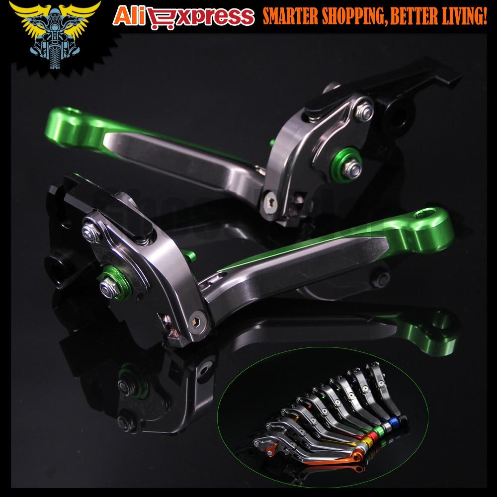 ФОТО Green+Titanium New CNC Motorcycle Brake Clutch Levers For Kawasaki ZX6R/636 2007 2008 2009 2010 2011 2012 2013 2014 2015 2016