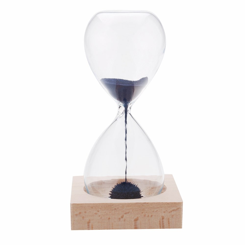 Magnetic Sand Glass Hourglass Clock Timer Home Decoration with Wood Base EV