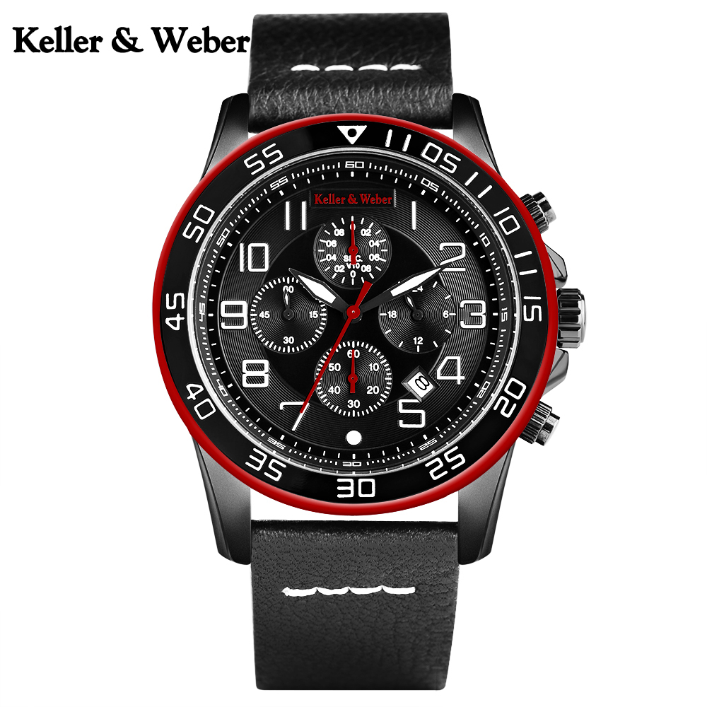 Keller & Weber Waterproof Chronograph Wrist Watch Men Seven Pin Analog Quartz Watches Business Pilot Men Genuine Leather Band цена и фото