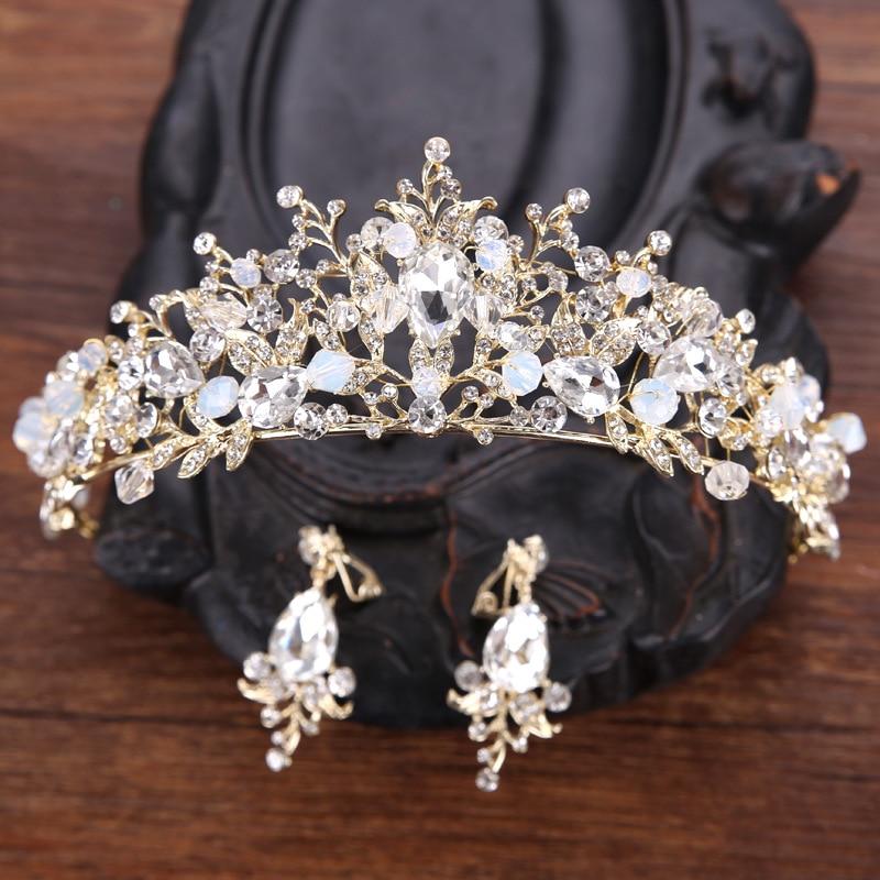 DIEZI Fashion Vintage Baroque Luxury Crystal Bridal Crown Tiaras Diadem Tiaras for Women Bride Wedding Earrings Hair Accessories