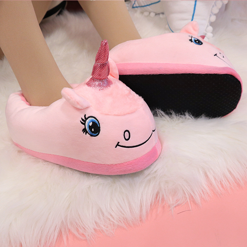 us $6.4 36% off|warm cotton winter women home slippers soft cartoon unicorn  indoor non slip house slippers girls cute shoes footwear-in slippers from