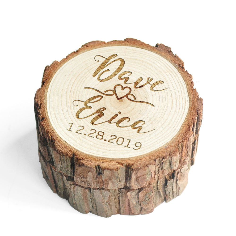 Personalized Rustic Ring Box Custom Engraving Ring Box Ring