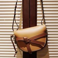 New Fashion Genuine Leather Women's Handbag High Quality Saddle Bag Contrast Color Bow Design Leisure Crossbody Bag