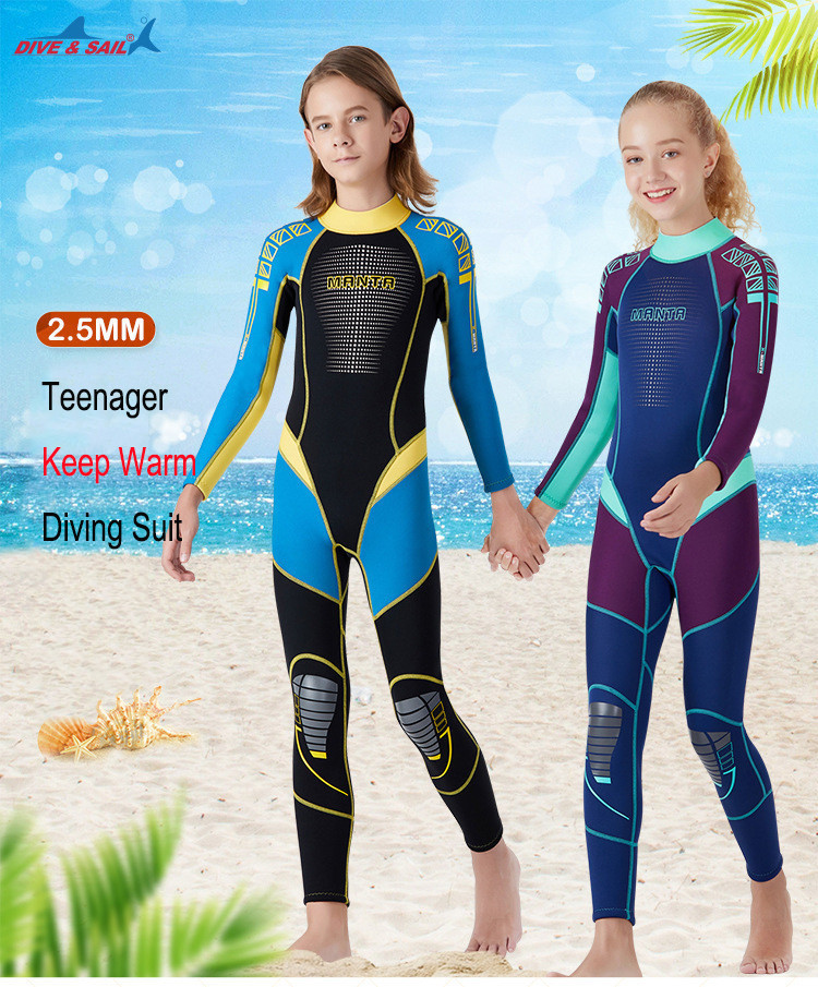 New Wetsuit Children for Boys Girls Keep Warm Long Sleeves UV Protection Swimwear One-piece 2.5 MM Neoprene Kids Diving Suit