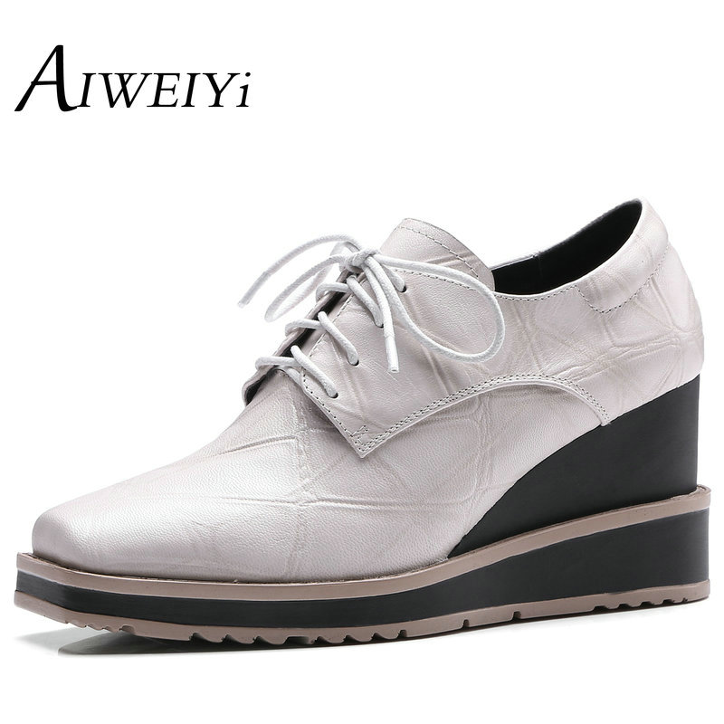 AIWEIYi Lace up Platform Pumps Shoes Oxfords Shoes Woman Square toe Wedges Shoes Genuine Leather High Heels Ladies Casual Shoes bling patent leather oxfords 2017 wedges gold silver platform shoes woman casual creepers pink high heels high quality hds59