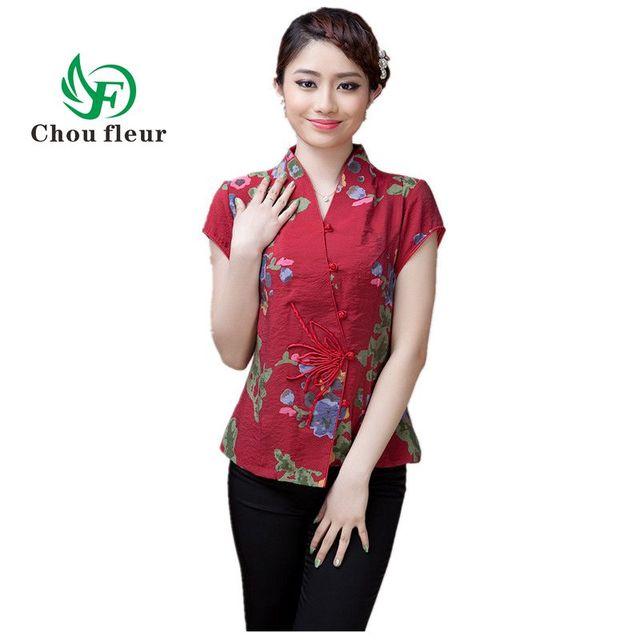 47da5c772 Feminino Blusa de Manga Curta de Verão Senhora Chinesa Top Roupas Mãe Gola  Camisa Tradicional Chinesa