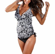 Summer Mae Women Maternity Pregnancy Halter Black Retro 2pcs Floral Tankini Swimsuit Plus Size Beach Wear