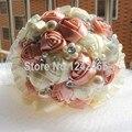 Mano de calidad superior champán blanco como la leche novia que sostiene la flor de la cinta mezcla perla adorno elegante de la boda Bouquet SH15