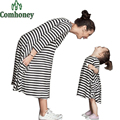 Mother and Daughter Dress Family Look Matching Clothes Mom Baby Dresses Pajamas Nightgown Outfits Striped Cute Kids Baby Costume