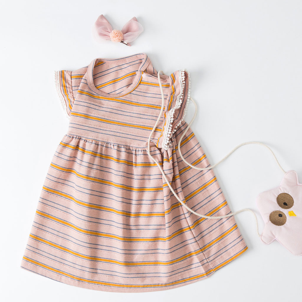 Summer New Fashion Baby Kids Girls Toddler Striped Sleeveless Party Princess Dresses Clothes Wholesale Free Ship Z5