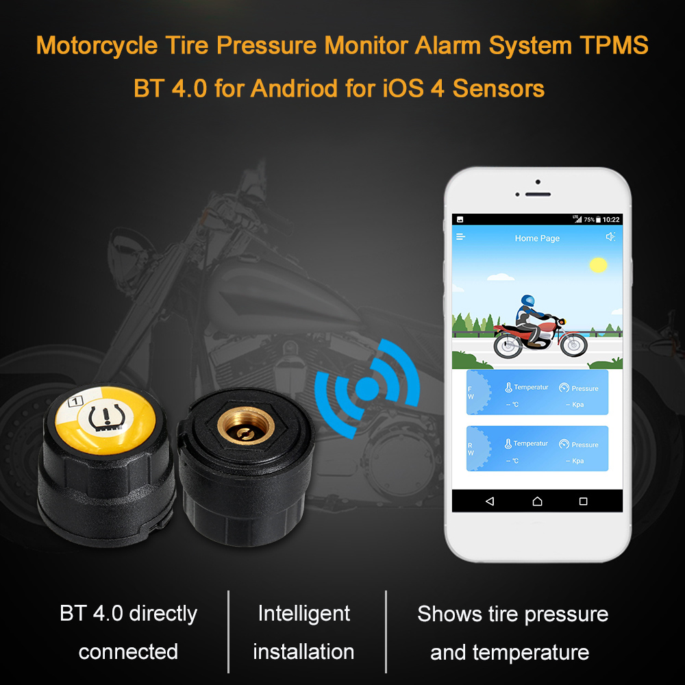 Motorcycle Tire Pressure Monitor Alarm System TPMS BT 4 0 for Andriod for iOS 4 Sensors