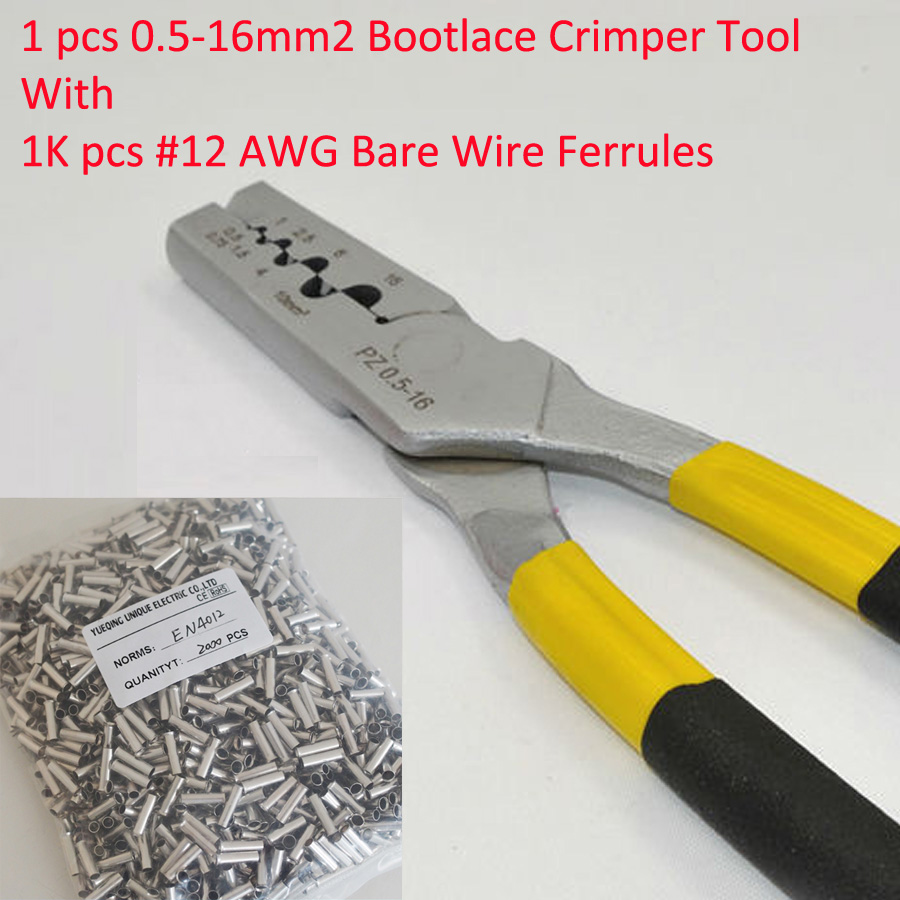 PZ0.5-16 0.5-16mm2 Crimping Tool Bootlace Ferrule Crimper and 1K #12 AWG EN4012 Bare Bootlace Wire Ferrules free shipping 1000pcs bootlace ferrule kit electrical crimp crimper cord wire end terminal