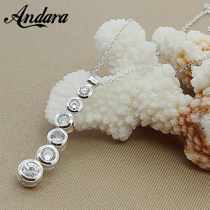 22572cc34 العلامة التجارية الفاخرة 925 الفضة كريستال جولة على شكل قلادة القلائد المرأة  مجوهرات N282