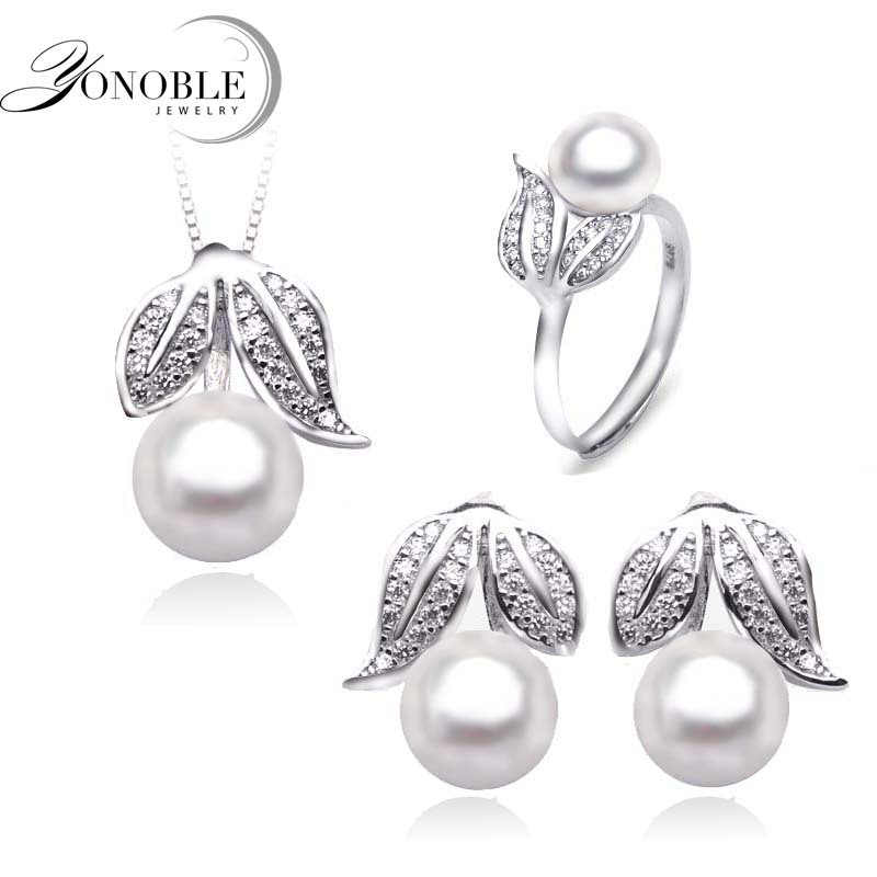 krásné skutečné - Natural pearl jewelry women Wedding jewelry sets silver,beautiful real pearl jewelry sets 925 for girlfriend birthday gift white