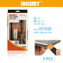 цена на JAKEMY 7 in 1 Screwdriver Set with Disassembling Repair Opening Tools Kit Repair Mobile Phone for iphone 6s Plus 5s ipad Samsung