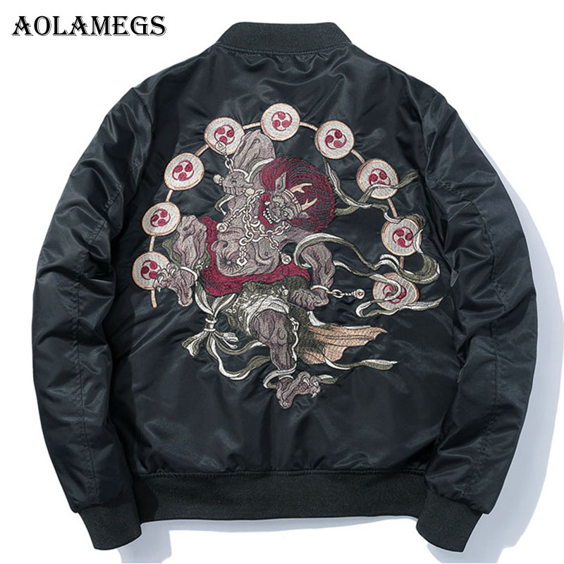 Aolamegs Jackets Men Japanese Embroidery MA1 Jacket Tracksuit Coats Hip Hop Stand Collar Casual Male Windbreaker Streetwear