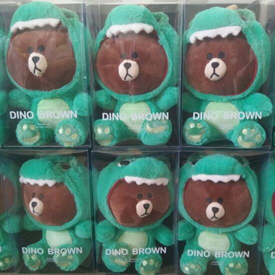23 35cm Dino Brown Bear Cony Plush Toys High Quality For Girlfriend Gift Creative Novel Style Doll Kid Birthday Present