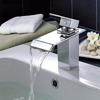 Contemporary Waterfall Water Bathroom Sink Faucet Tap, Torneira Para De Banheiro Dourada color changing led waterfall tap for bathroom sink faucet torneira para de banheiro