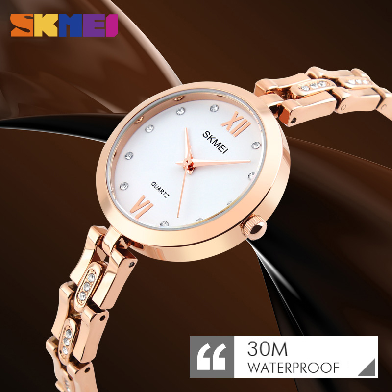 Fashion Quartz Dress Watch Women Luxury Rhinestone Waterproof Watch Wrist Watches Relogio Feminino Mujer Relojes New SKMEI Clock guanqin quartz watches fashion watch women dress relogio feminino waterproof tungsten steel gold bracelet watches relojes mujer