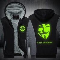 2017 Zima V Jak Vendetta Maskować Rangers Mężczyźni Bluzy z kapturem Zagęścić bluzy Na Zamek Błyskawiczny odzieży wierzchniej Kurtki USA UE rozmiar Plus size