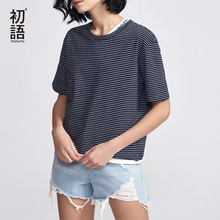 Toyouth Casual Striped Tees For Women Fashion 2018 Short Sleeve T-Shirts Summer Basic Round Neck T Shirt Letter Loose Tops Mujer