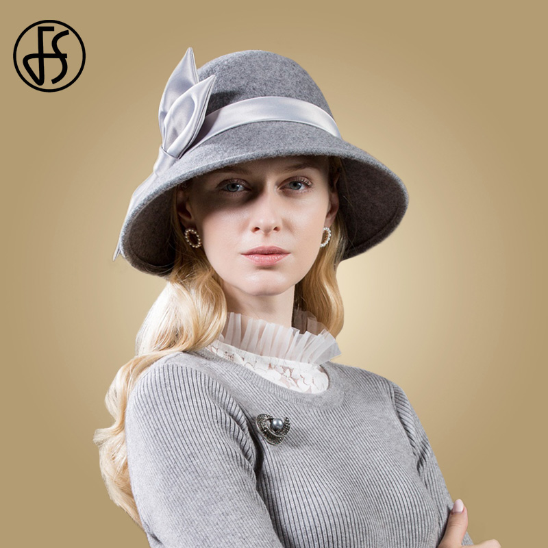 FS Black Hats Wool Women 2019 Autumn Winter Gray Wide Brim Round Hat Felt Vintage Bow Top Cloche Fedoras Chapeu de Feltro