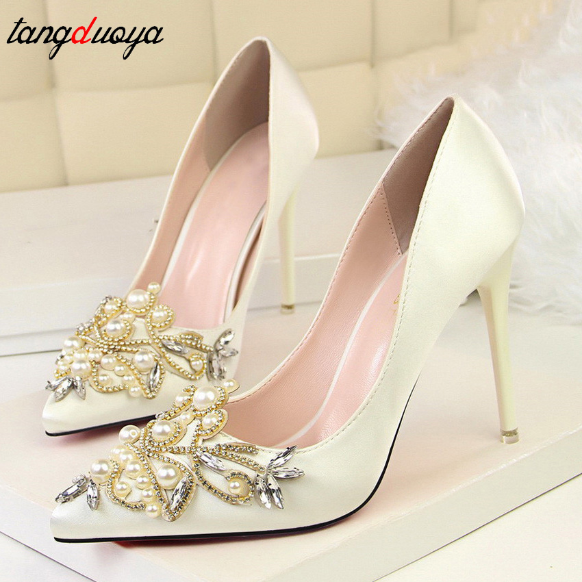 sexy women pumps high heels shoes rhinestone red white bridal shoes ladies high heel wedding shoes talon femme 2018 women pumps colorful rhinestone wedding shoes thin heels high heels red shoes woman married bridal shoes single women s shoes