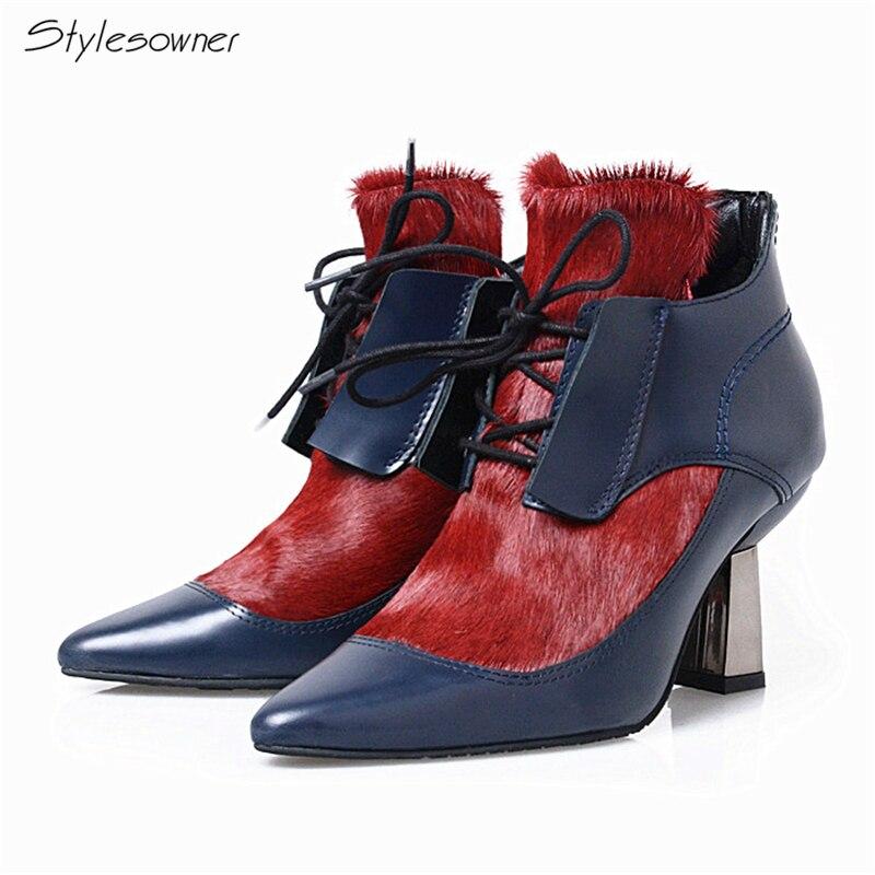 Stylesowner 2018 Европейский Осень конского волоса офисные сапоги Мода Mix Цвет Обувь из воловьей кожи на шнуровке на необычном каблуке Для женщин с