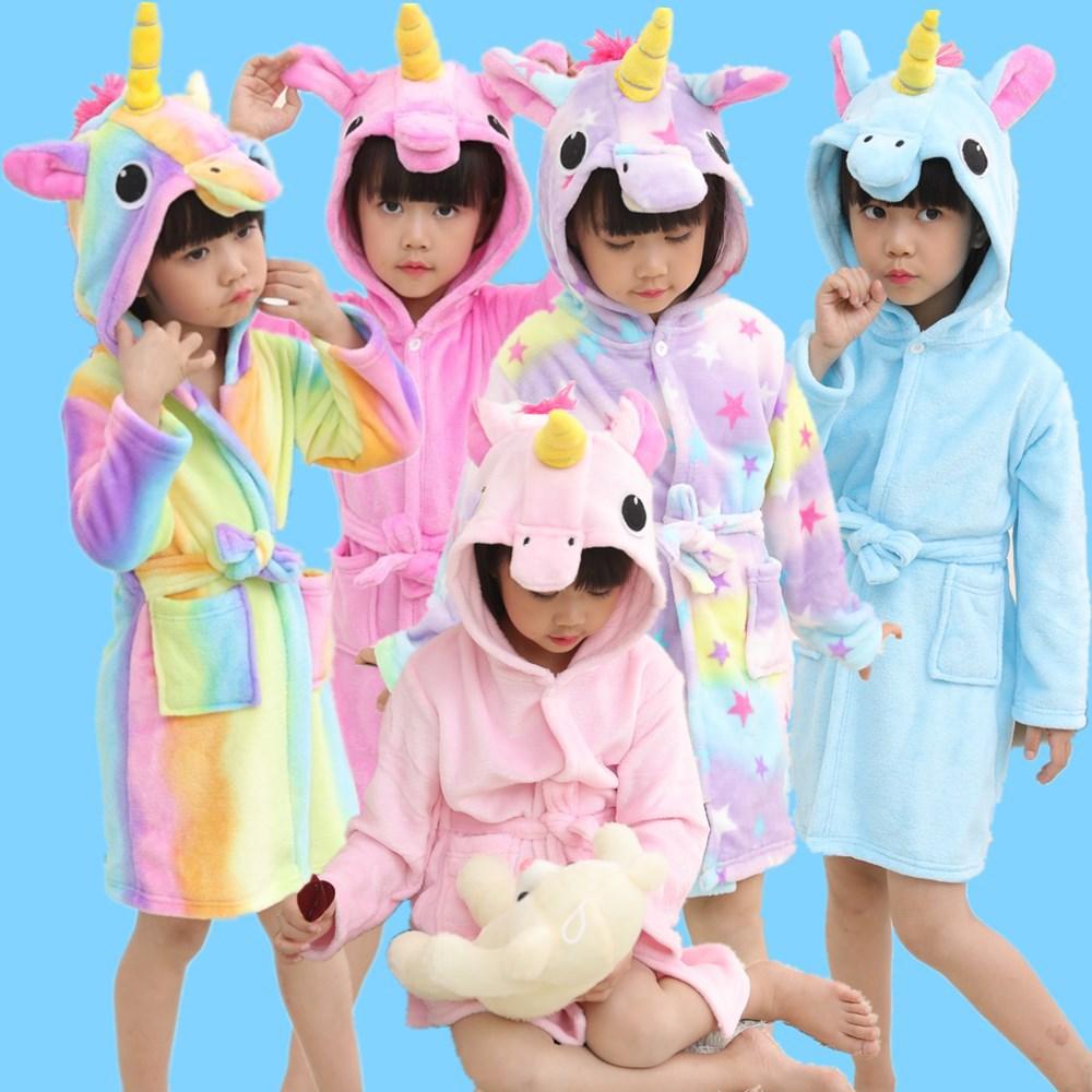 uBathrobes for Boys Girls Pajamas Baby Bath Robe Rainbow Unicorn Pattern Hoodies Robes Kids Sleepwear Children Bathrobe Costumes
