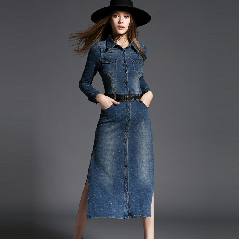 2017 Autumn Women Fashion Denim Long Dress Elegant Casual Maxi Slim Package Hip Commuter Ol Temperament In Dresses From S
