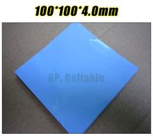 100mm*100mm*4.0mm Soft Silicone Thermal Pad /Thermal Pads /Thermal Cooling for Heatsink /Chipset /Chip /IC /VRAM /LED Blue(China)