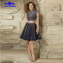 New Arrival Heavy Beading Crystal Tulle A Line Short Prom Dresses 2017 Sexy Party Evening Gowns Vestido de Festa