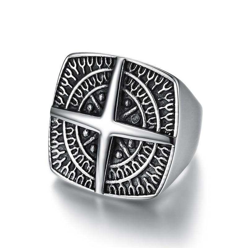 Bague croix viking en acier inoxydable  1