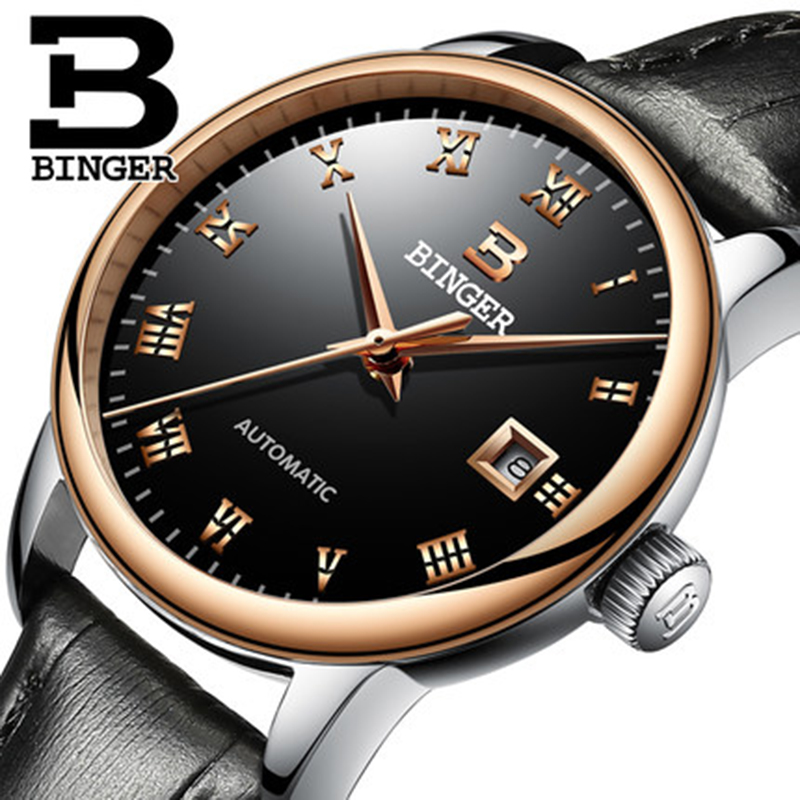 Genuine Switzerland BINGER Men sapphire fashion self-wind automatic mechanical leather strap gold business watch waterproof fashion 40mm pranis silver dial full stainless steel sapphire glass automaic self wind mechanical men s business watch