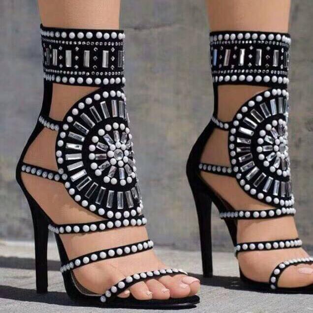 women white black rhinestones roman gladiator sandal Sexy Open Toe Woman Sandal Ankle Strap Rivets Studded Gladiator Sandalwomen white black rhinestones roman gladiator sandal Sexy Open Toe Woman Sandal Ankle Strap Rivets Studded Gladiator Sandal