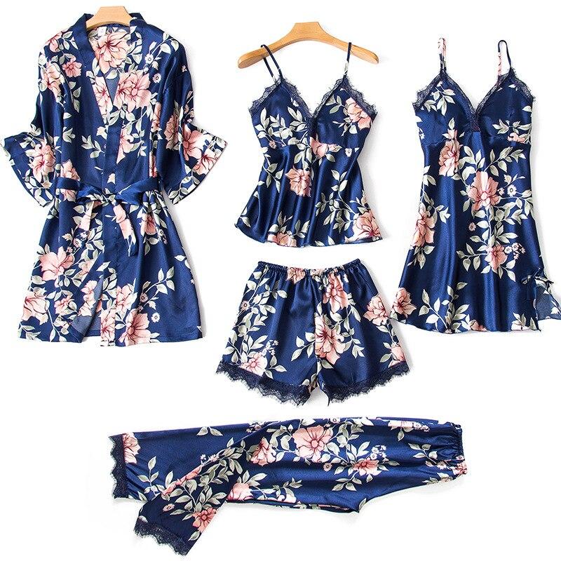 Women Sexy Summer Lingerie Pijiama Satin Autumn Spaghetti Strap   Pajamas   Gown Silk Korean Five Piece   Pajama     Sets   Pink Sleepwear