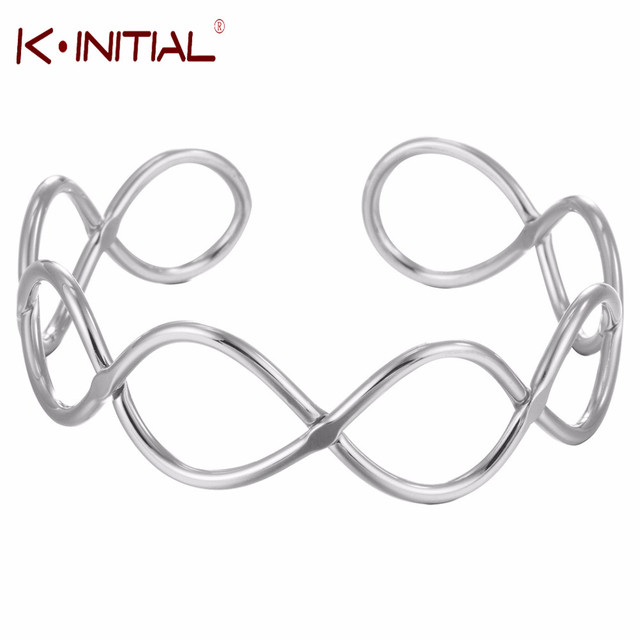 Kinitial Open Infinity Cuff Bracelets Cable Bracelet Cross Knots Bangles For Women Bridal Wrist Statement Jewelry