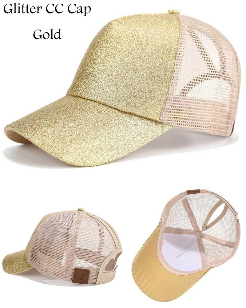 Composite Bats Glitter Ponytail Baseball Cap Women Messy Bun Snapback Summer Mesh Hats