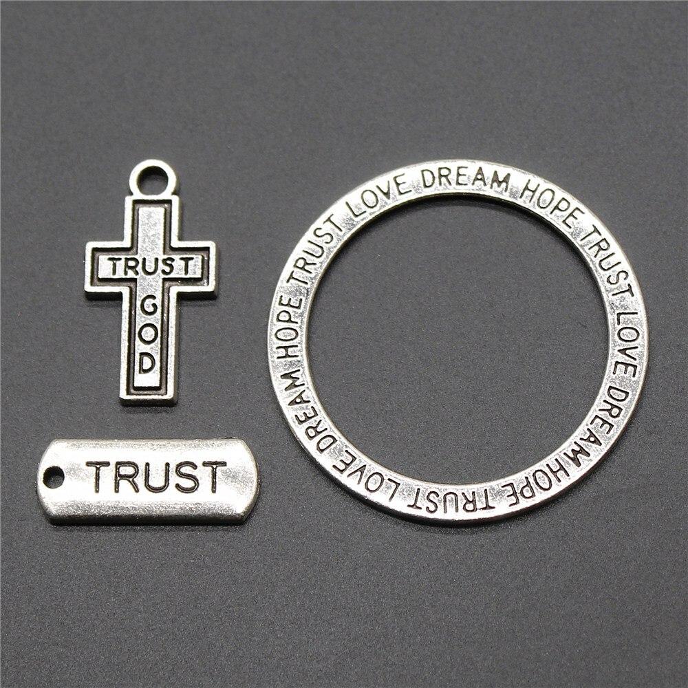 10 Stücke Charms Vertrauen Platte Anhänger Charms Traum Vertrauen Liebe Hoffnung Charms Schmuck Zubehör Antike Silber Farbe