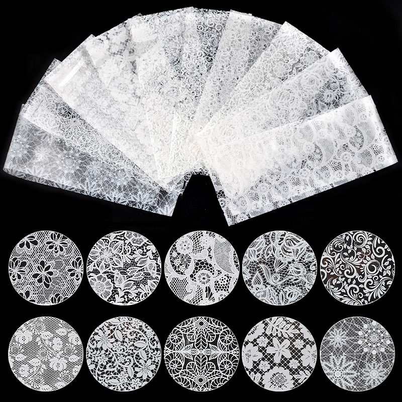 10Pcs White Black Lace <font><b>Nail</b></font> Art Foils Set Top Floral CharmNail Transfer <font><b>Sticker</b></font> Paper DIY Manicure <font><b>Nail</b></font> Decoration Accessories image