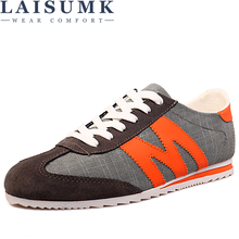 LAISUMK 2019 Men Casual Shoes Fashion Denim Canvas Lace Up Flats Comfortable Sneakers MenS