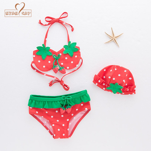 7b05ba2e929ec NYAN CAT Baby girls swimsuit infant toddler kids children fashion  strawberry fruit swimwear hat+bra